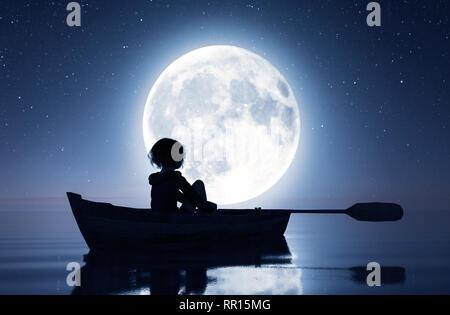 Chica en el bote de remos en el mar bajo la luna,3D rendering Imagen De Stock