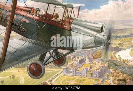 GEORGE V (1865-1936) volando sobre el Castillo de Windsor cuando era Príncipe de Gales sobre 1910 Imagen De Stock