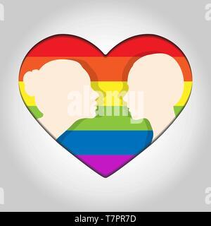 Dos cabeza femenina silueta uno frente al otro en el fondo de los corazones en colores de LGBT Imagen De Stock