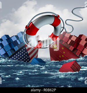 Guerra comercial solución como China crisis económica de Estados Unidos y los aranceles americanos o arancel chino como dos hundiendo barcos de carga con un salvavidas. Imagen De Stock