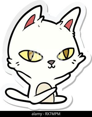 Pegatina de una historieta cat mirando Imagen De Stock