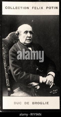 Retrato fotográfico De Broglie desde la colección Félix Potin, de principios del siglo XX. Imagen De Stock
