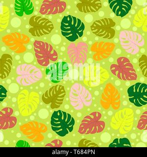 Patrón sin fisuras con plantas tropicales y monster deja burbujas. Modernos colores aleatorios. Ideal para productos textiles, envases, papel, impresión simple backgrou Imagen De Stock