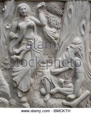 Tallas tradicionales en las paredes en Kerala Imagen De Stock