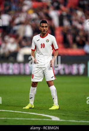 Enero 15, 2019 : Ahmed Samir de Jordania en Palestina v Jordania en el estadio Mohammed Bin Zayed, en Abu Dhabi, Emiratos Árabes Unidos, AFC Copa Asiática, campeonato de fútbol asiático. Ulrik Pedersen/CSM. Imagen De Stock