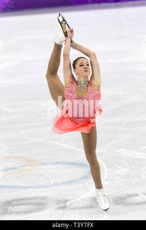 Maria Sotskova (OAR) competir en el Patinaje artístico - Corto de damas en los Juegos Olímpicos de Invierno PyeongChang 2018 > Imagen De Stock