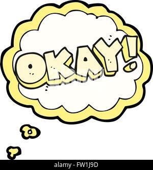 Pensamiento dibujados a mano alzada de dibujos animados burbuja símbolo ok Imagen De Stock