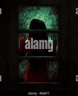 Mujer fantasma detrás de las puertas,3d ilustración Imagen De Stock