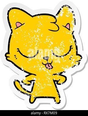 Pegatina angustiado de un feliz gato de dibujos animados Imagen De Stock