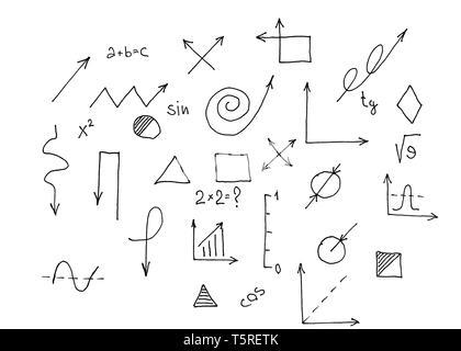 La escuela y la educación. Conjunto de signos y símbolos, escuela de diseño plano Imagen De Stock