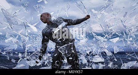 Los fragmentos de vidrio que rodea el hombre futurista Imagen De Stock