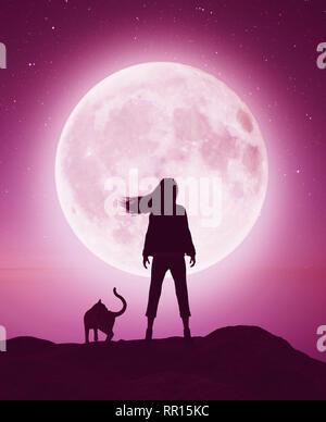 Chica con el gato en el acantilado mirando a la luna,3D rendering Imagen De Stock