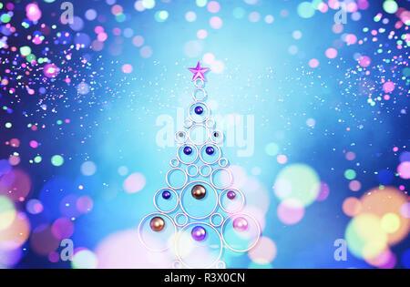 Árbol de navidad con luces borrosa colorido abstracto para navidad diseño antecedentes,3d ilustración Imagen De Stock