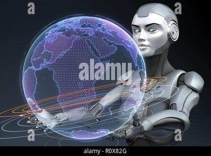 Cyborg sujetando el holograma de la Tierra en sus manos. Ilustración 3D Imagen De Stock