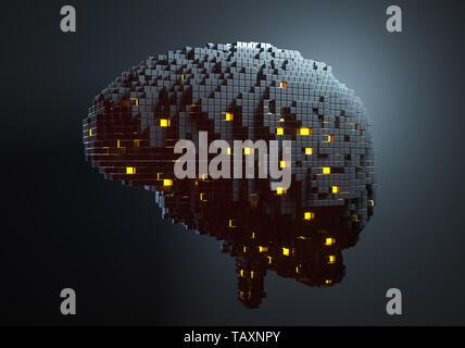 Cerebro compuesta de bloques. Concepto de inteligencia artificial. Ilustración 3D Imagen De Stock