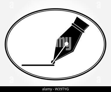 Pluma pluma de tinta plana simple icono de diseño web, sitios web y aplicaciones. Icono oval plana. Tinta de bolígrafo y la línea. Imagen De Stock