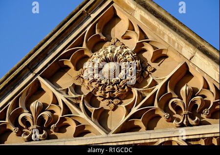 Detalle arquitectónico, King's College, Universidad de Cambridge, Inglaterra Imagen De Stock