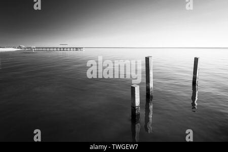 Paisaje del océano con pilones de madera de diseño minimalista en blanco y negro impresionante Imagen De Stock