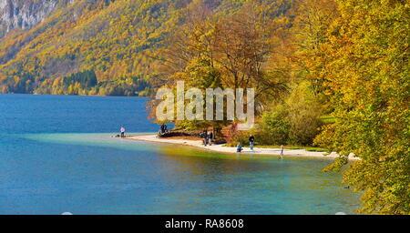 Lago de Bohinj, el Parque Nacional de Triglav, en Eslovenia Imagen De Stock