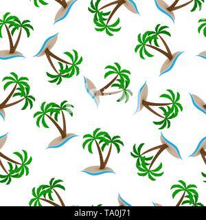 Patrón sin fisuras, isla con palmeras en el mar. Diseño de fondos, fondos de pantalla, tapas, envases y material. Imagen De Stock