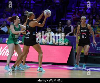 Casey Kopua (NZ) en acción durante la vitalidad Netball World Cup 2019 a M&S Bank Arena, Liverpool, Reino Unido.Nueva Zelandia beat Irlanda: 77-28 Imagen De Stock