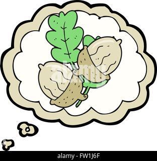 Burbuja de pensamiento dibujados a mano alzada cartoon bellotas Imagen De Stock
