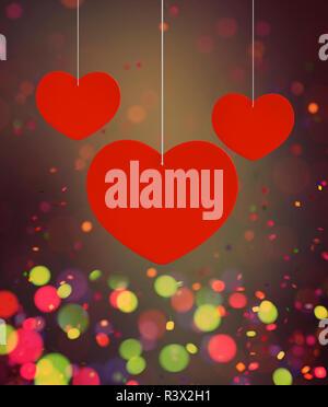 Resumen Corazones rojos decorados sobre fondo de colores para valentine,3D rendering Imagen De Stock