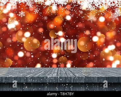 3D Render de una mesa de madera mirando a un fondo de copos de nieve de Navidad Imagen De Stock