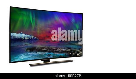 Monitor 4k aislado en blanco. TV con la vista de la naturaleza Imagen De Stock