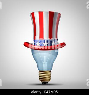 Estados Unidos la creatividad y las ideas creativas americana concepto como un sombrero de un patriótico estadounidense como una bombilla encendida la luz de la imaginación. Imagen De Stock