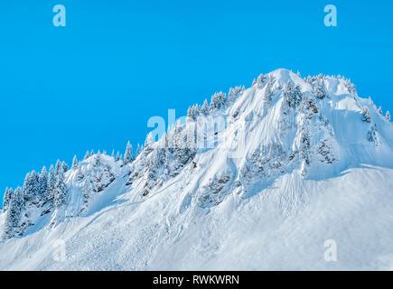 Hermosa montaña snwocapped cumbre con eliminación de avalancha Imagen De Stock