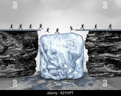 Oportunidad de tiempo limitado y urgente actuar rápidamente el concepto empresarial como un puente de hielo derrite como una emergencia fecha de caducidad o símbolo. Imagen De Stock