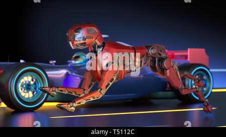 Perro robot rojo es con las carreras de coches deportivos. Ilustración 3D Imagen De Stock