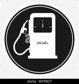 Símbolo de la columna para el llenado de vehículos con combustible diesel. Icono de plano que dice DIESEL. Icono de estación de llenado automático. Imagen De Stock