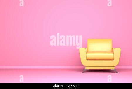 Silla de color amarillo sobre el fondo de color rosa. Ilustración 3D Imagen De Stock
