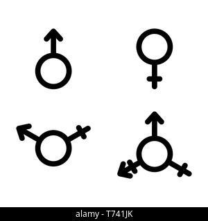 El conjunto de símbolos, el género masculino y femenino, bi y transexuales de género, diseño plano Imagen De Stock