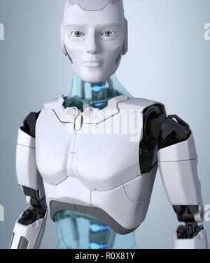 Robot android posando sobre un fondo gris claro. Ilustración 3D Imagen De Stock