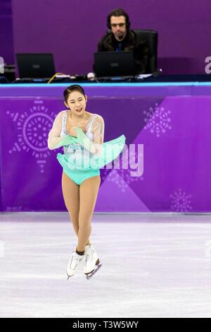 Choi Dabin (KOR) competir en el Patinaje artístico - Corto de damas en los Juegos Olímpicos de Invierno PyeongChang 2018 Imagen De Stock
