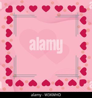 Pink Heart y flores en las fronteras de fondo de color rosa con el bastidor y el corazón en el oriente. Solución ideal para el diseño y la decoración de saludos. Imagen De Stock