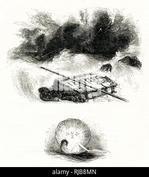 Ilustración por Kenny prados a la tempestad, de William Shakespeare. La tormenta en el mar, observados por Ariel. Imagen De Stock