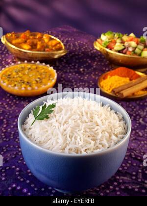 El arroz Basmati al vapor blanco Imagen De Stock