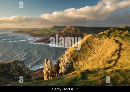 La costa Jurásica de la cabeza de San Aldhelm, Dorset, Inglaterra, Reino Unido. Imagen De Stock