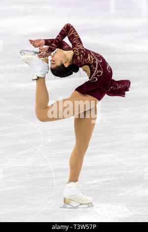 Mirai Nagasu (USA) competir en el Patinaje artístico - Corto de damas en los Juegos Olímpicos de Invierno PyeongChang 2018 Imagen De Stock