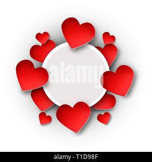 Día de San Valentín fotograma de fondo con papel cortado Corazones rojos, ilustración vectorial Imagen De Stock