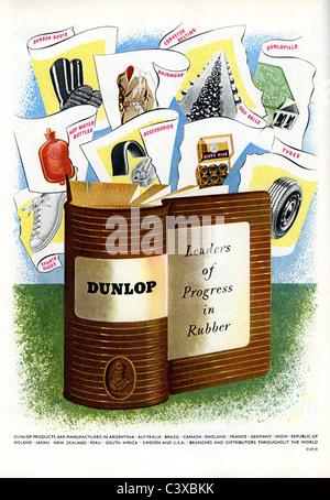 Anuncio de Dunlop, desde el Festival de Gran Bretaña, guía, publicada por HMSO. Londres, Reino Unido, Imagen De Stock