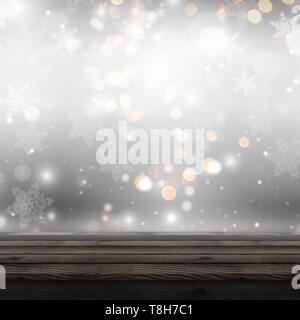 3D Render de una mesa de madera mirando a un Christmas background defocussed Imagen De Stock