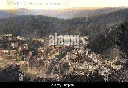 Edificios en Karlovy Vary 1911, Región de Karlovy Vary, Karlsbad, Blick vom Dreikreuzberg, República Checa Imagen De Stock