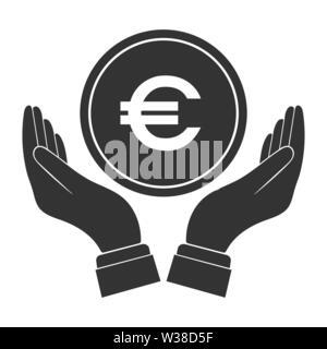Moneda Euro symbol y colocó la palma de su mano. Diseño simple plana Imagen De Stock