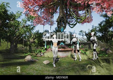Robots viendo android mujer disfrutando de jardín Imagen De Stock