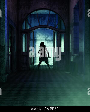 Chica está poseída por una demoníaca,3D rendering** escena nocturna puede haber algo de ruido Imagen De Stock